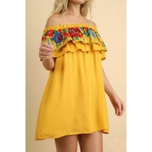 Umgee Mango Embroidere  Ruffle Off shoulder Dress